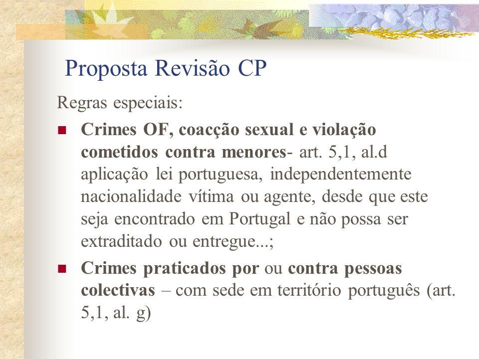 Proposta Revisão CP Regras especiais: Crimes OF, coacção sexual e violação cometidos contra menores- art.