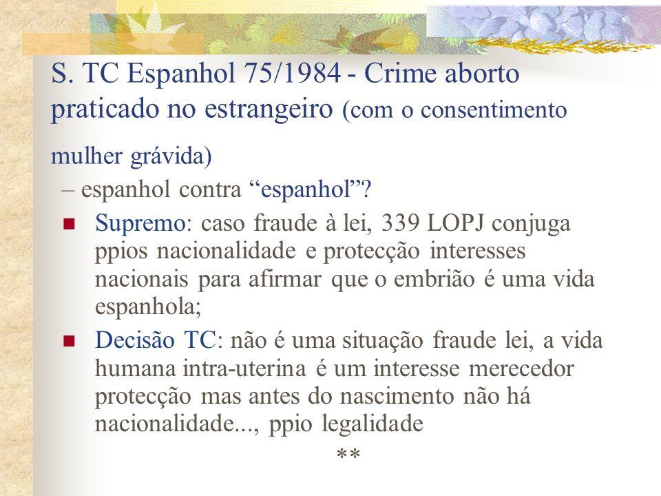 S. TC Espanhol 75/1984 - Crime aborto praticado no estrangeiro (com o consentimento mulher grávida) – espanhol contra espanhol? Supremo: caso fraude à
