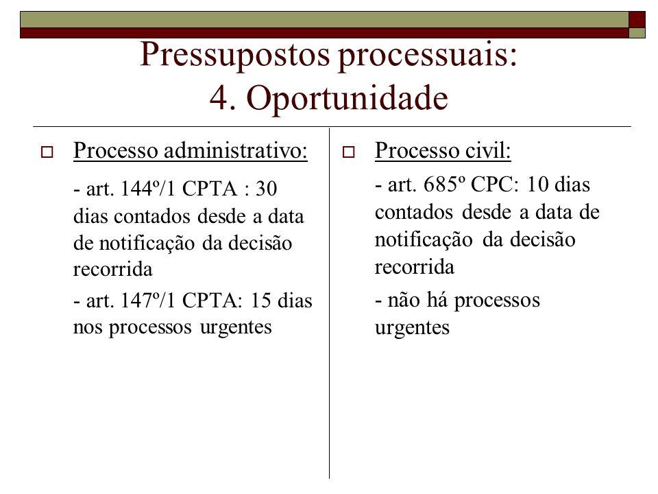 Pressupostos processuais: 4. Oportunidade Processo administrativo: - art. 144º/1 CPTA : 30 dias contados desde a data de notificação da decisão recorr