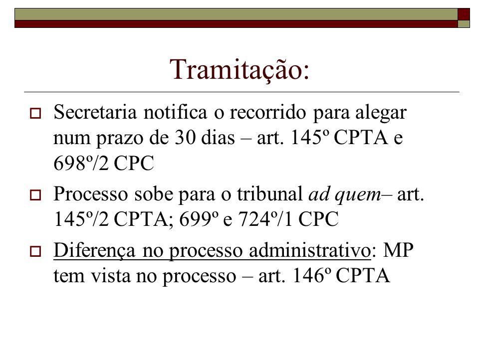 Tramitação: Secretaria notifica o recorrido para alegar num prazo de 30 dias – art. 145º CPTA e 698º/2 CPC Processo sobe para o tribunal ad quem– art.