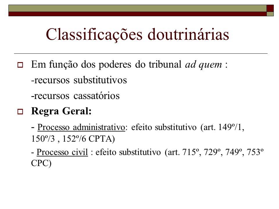 Classificações doutrinárias Em função dos poderes do tribunal ad quem : -recursos substitutivos -recursos cassatórios Regra Geral: - Processo administ