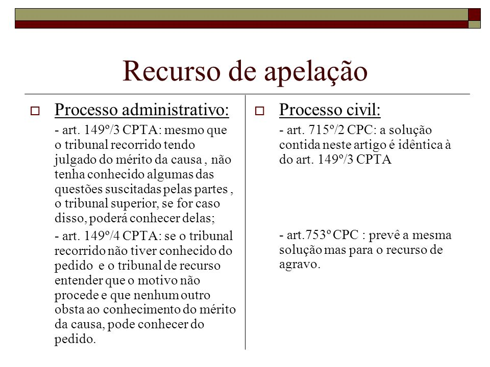 Recurso de apelação Processo administrativo: - art. 149º/3 CPTA: mesmo que o tribunal recorrido tendo julgado do mérito da causa, não tenha conhecido