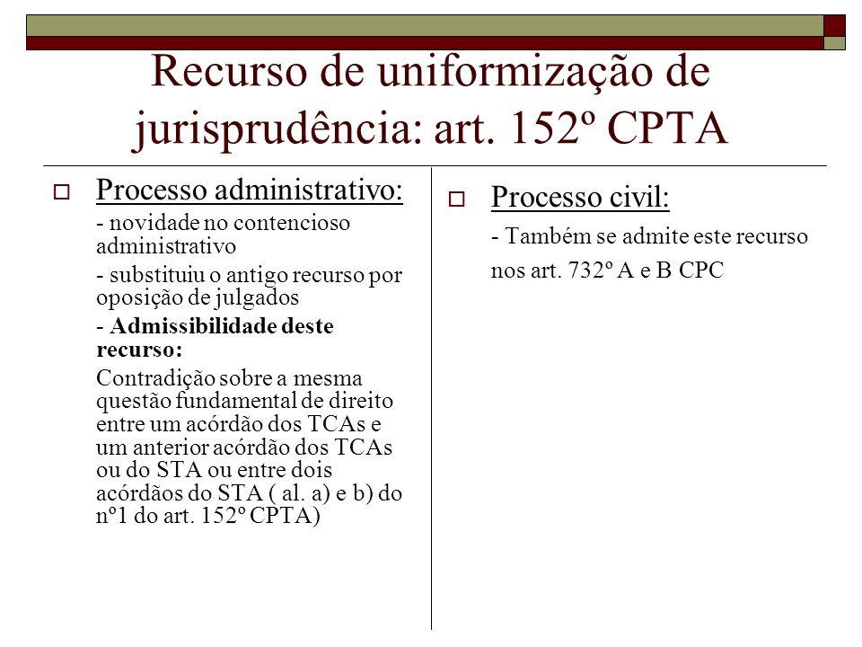 Recurso de uniformização de jurisprudência: art. 152º CPTA Processo administrativo: - novidade no contencioso administrativo - substituiu o antigo rec