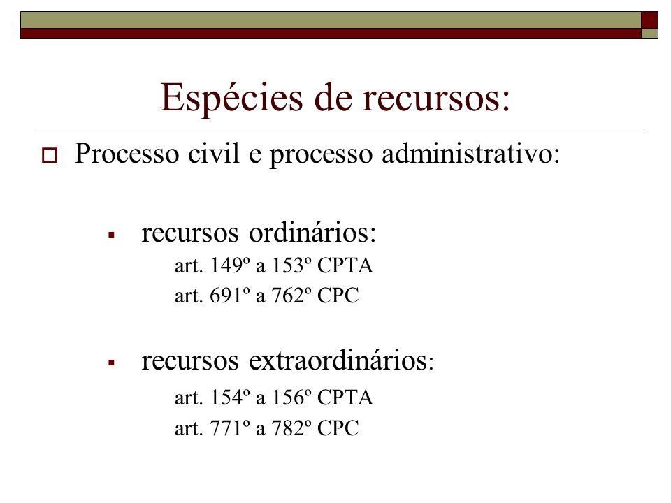 Espécies de recursos: Processo civil e processo administrativo: recursos ordinários: art. 149º a 153º CPTA art. 691º a 762º CPC recursos extraordinári