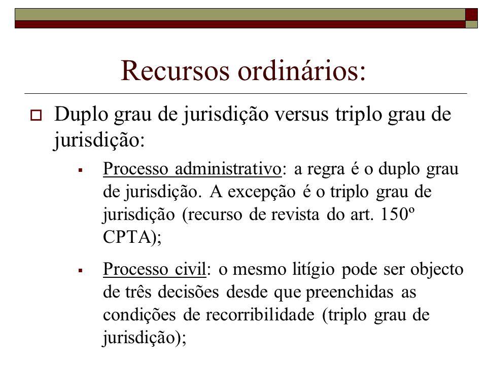 Recursos ordinários: Duplo grau de jurisdição versus triplo grau de jurisdição: Processo administrativo: a regra é o duplo grau de jurisdição. A excep