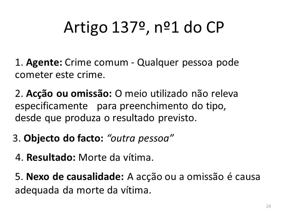 24 Artigo 137º, nº1 do CP 2. Acção ou omissão: O meio utilizado não releva especificamente para preenchimento do tipo, desde que produza o resultado p