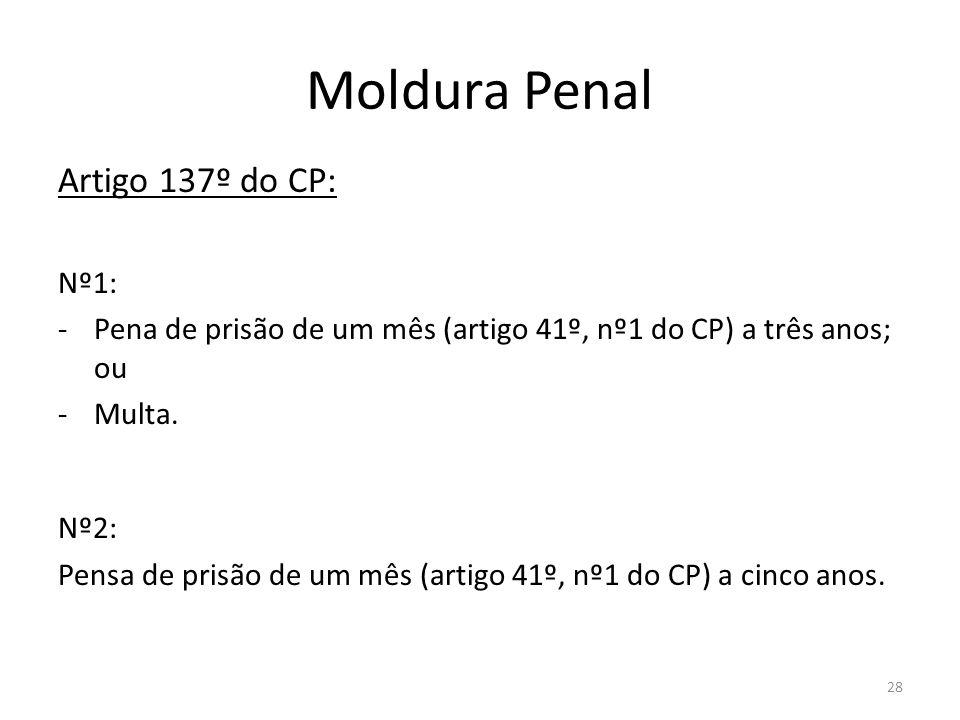 28 Moldura Penal Artigo 137º do CP: Nº1: -Pena de prisão de um mês (artigo 41º, nº1 do CP) a três anos; ou -Multa. Nº2: Pensa de prisão de um mês (art
