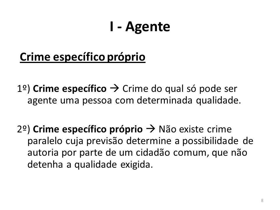 8 I - Agente Crime específico próprio 1º) Crime específico Crime do qual só pode ser agente uma pessoa com determinada qualidade. 2º) Crime específico