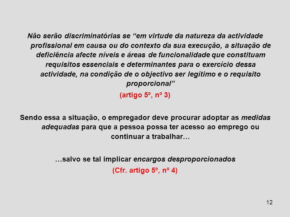 12 Não serão discriminatórias se em virtude da natureza da actividade profissional em causa ou do contexto da sua execução, a situação de deficiência