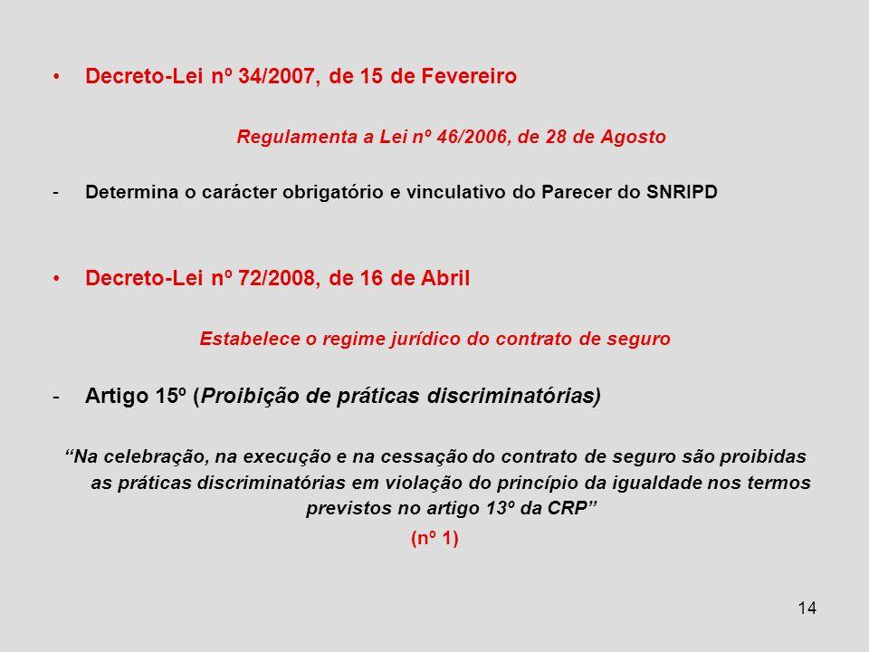 14 Decreto-Lei nº 34/2007, de 15 de Fevereiro Regulamenta a Lei nº 46/2006, de 28 de Agosto -Determina o carácter obrigatório e vinculativo do Parecer do SNRIPD Decreto-Lei nº 72/2008, de 16 de Abril Estabelece o regime jurídico do contrato de seguro -Artigo 15º (Proibição de práticas discriminatórias) Na celebração, na execução e na cessação do contrato de seguro são proibidas as práticas discriminatórias em violação do princípio da igualdade nos termos previstos no artigo 13º da CRP (nº 1)