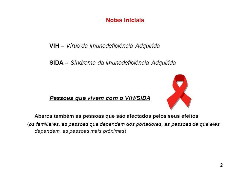 2 Notas iniciais VIH – Vírus da imunodeficiência Adquirida SIDA – Síndroma da imunodeficiência Adquirida Pessoas que vivem com o VIH/SIDA Abarca também as pessoas que são afectados pelos seus efeitos (os familiares, as pessoas que dependem dos portadores, as pessoas de que eles dependem, as pessoas mais próximas)