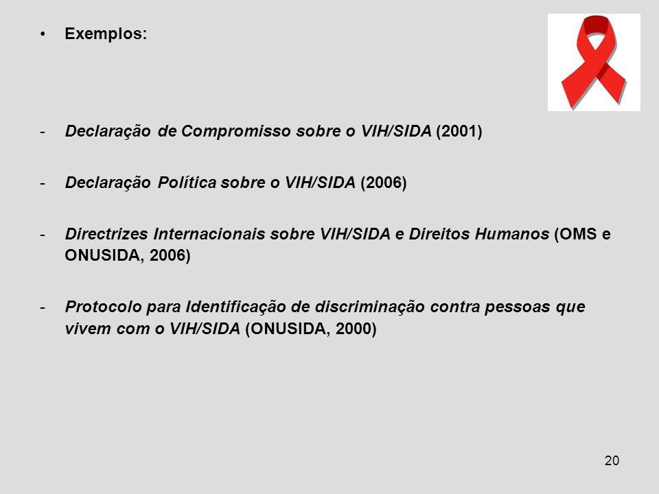 20 Exemplos: -Declaração de Compromisso sobre o VIH/SIDA (2001) -Declaração Política sobre o VIH/SIDA (2006) -Directrizes Internacionais sobre VIH/SID