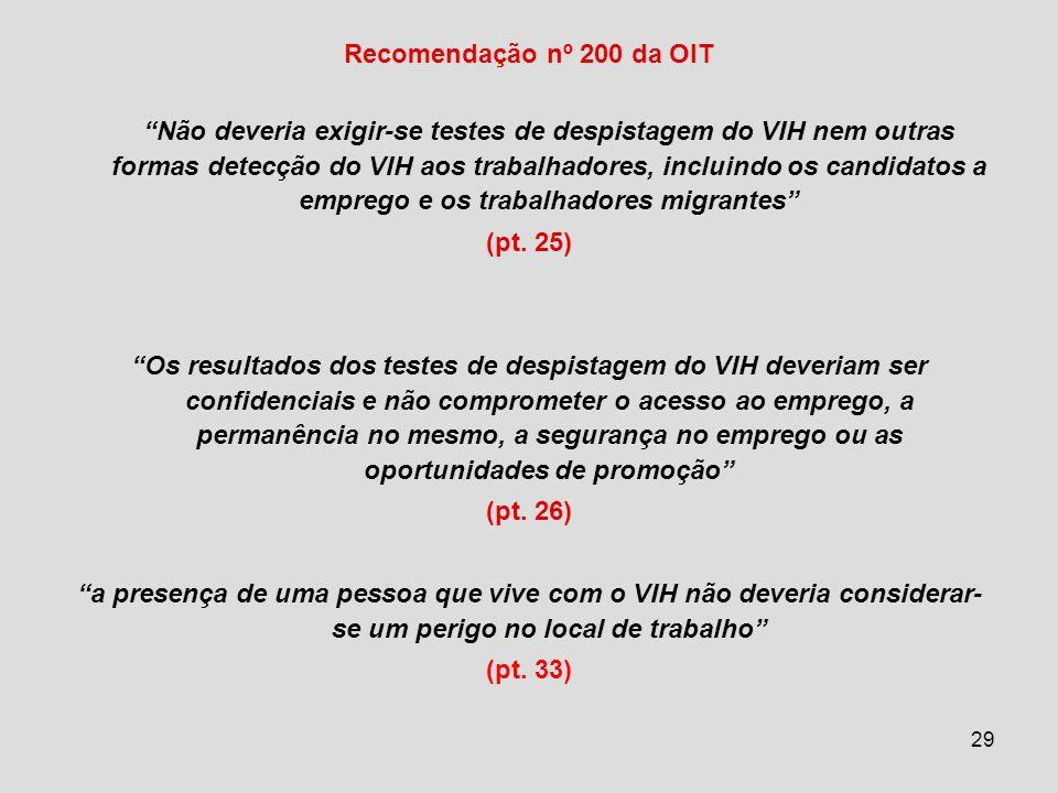 29 Recomendação nº 200 da OIT Não deveria exigir-se testes de despistagem do VIH nem outras formas detecção do VIH aos trabalhadores, incluindo os candidatos a emprego e os trabalhadores migrantes (pt.