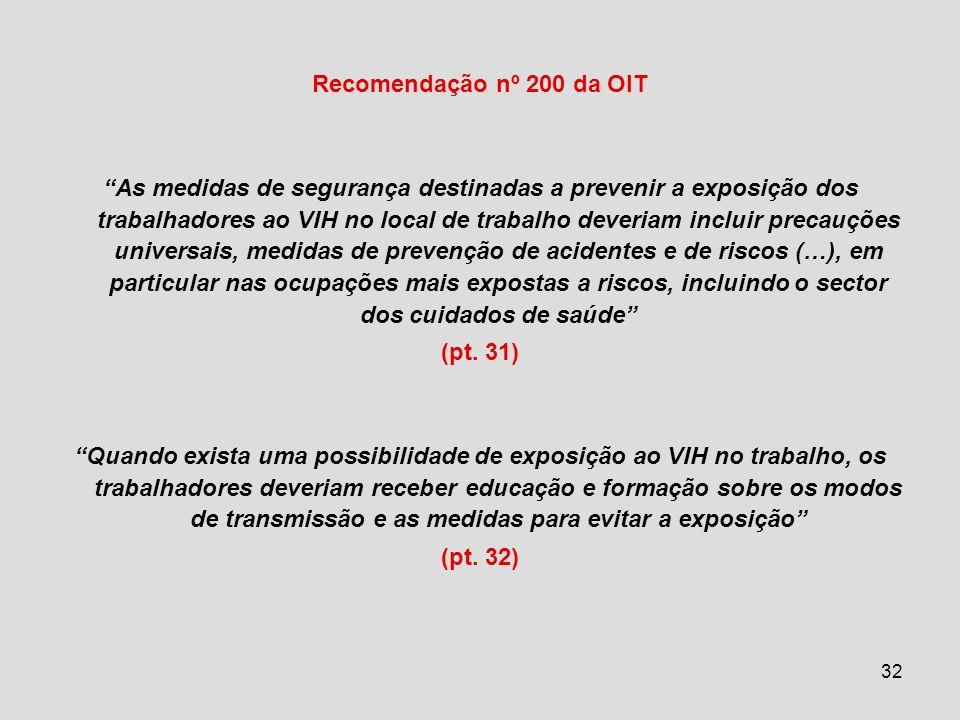 32 Recomendação nº 200 da OIT As medidas de segurança destinadas a prevenir a exposição dos trabalhadores ao VIH no local de trabalho deveriam incluir