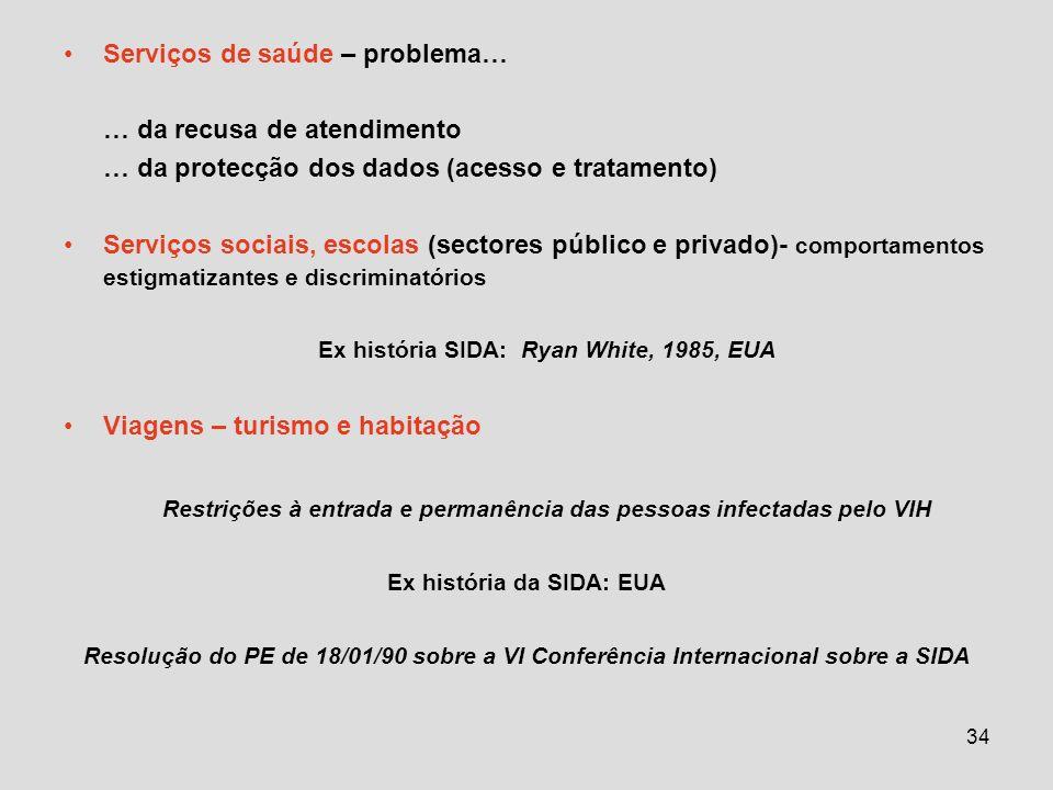 34 Serviços de saúde – problema… … da recusa de atendimento … da protecção dos dados (acesso e tratamento) Serviços sociais, escolas (sectores público