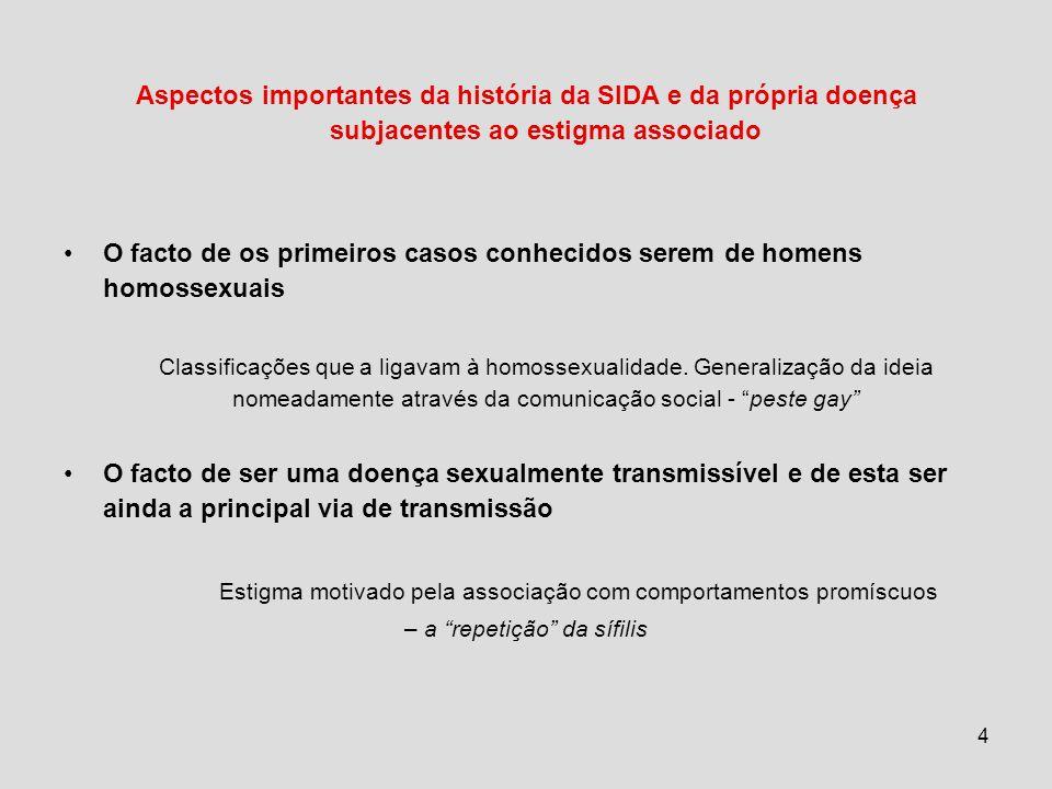 4 Aspectos importantes da história da SIDA e da própria doença subjacentes ao estigma associado O facto de os primeiros casos conhecidos serem de homens homossexuais Classificações que a ligavam à homossexualidade.