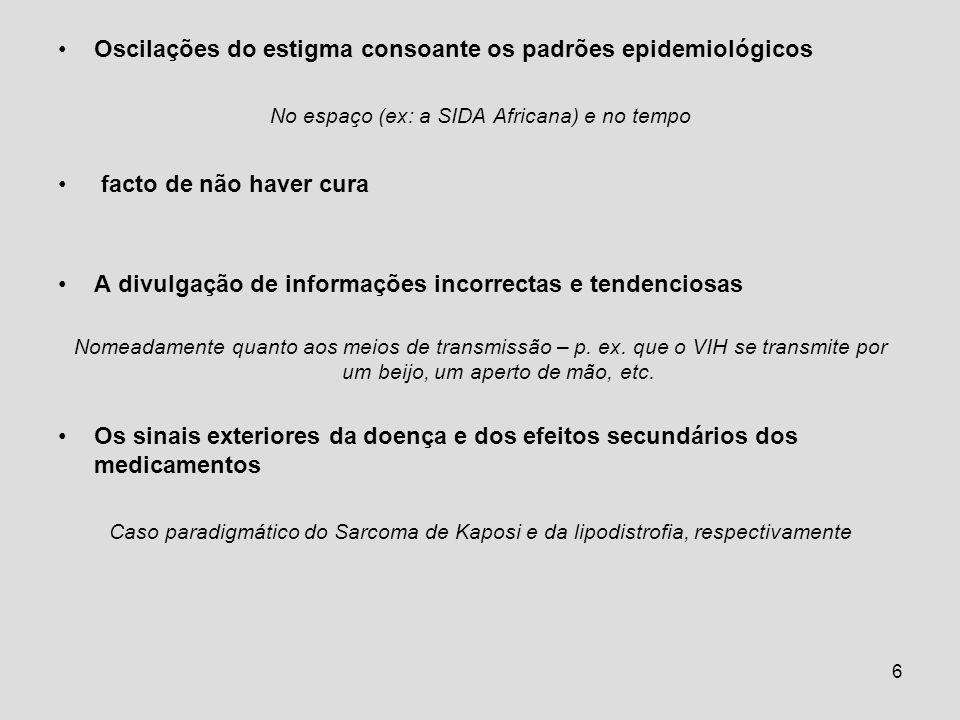 6 Oscilações do estigma consoante os padrões epidemiológicos No espaço (ex: a SIDA Africana) e no tempo facto de não haver cura A divulgação de inform