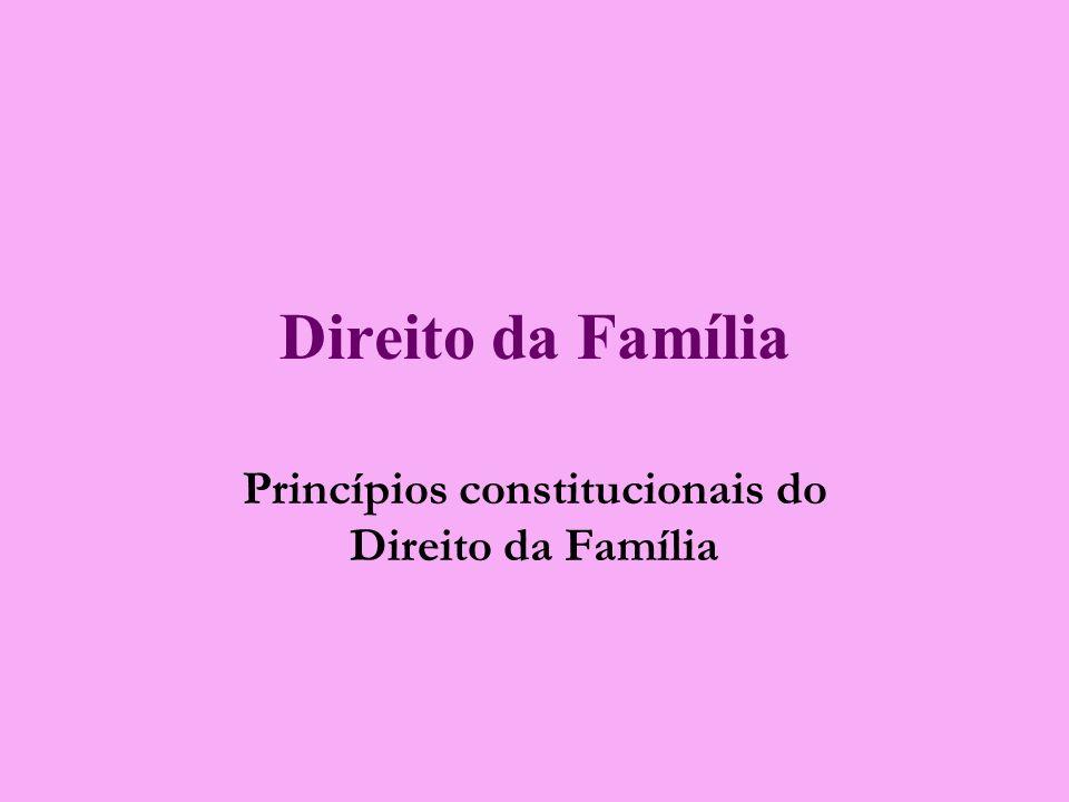 Direito da Família Princípios constitucionais do Direito da Família