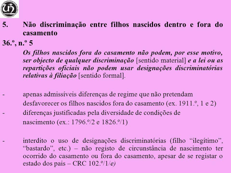 5.Não discriminação entre filhos nascidos dentro e fora do casamento 36.º, n.º 5 Os filhos nascidos fora do casamento não podem, por esse motivo, ser