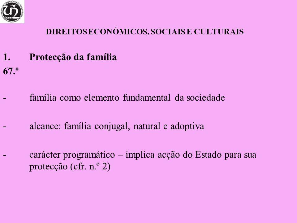 DIREITOS ECONÓMICOS, SOCIAIS E CULTURAIS 1.Protecção da família 67.º -família como elemento fundamental da sociedade -alcance: família conjugal, natur