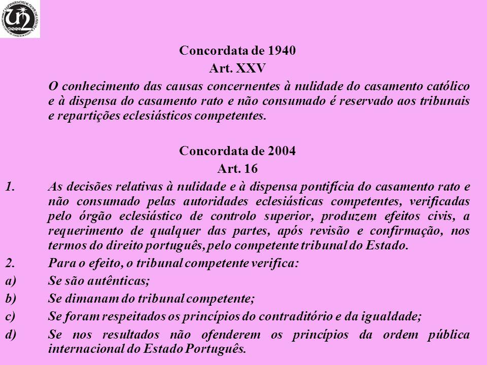Concordata de 1940 Art. XXV O conhecimento das causas concernentes à nulidade do casamento católico e à dispensa do casamento rato e não consumado é r