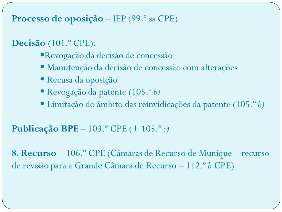 Processo de oposição – IEP (99.º ss CPE) Decisão (101.º CPE): Revogação da decisão de concessão Manutenção da decisão de concessão com alterações Recusa da oposição Revogação da patente (105.º b) Limitação do âmbito das reinvidicações da patente (105.º b) Publicação BPE – 103.º CPE (+ 105.º c) 8.