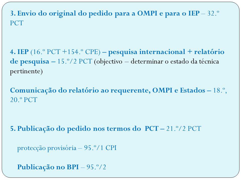 3.Envio do original do pedido para a OMPI e para o IEP – 32.º PCT 4.