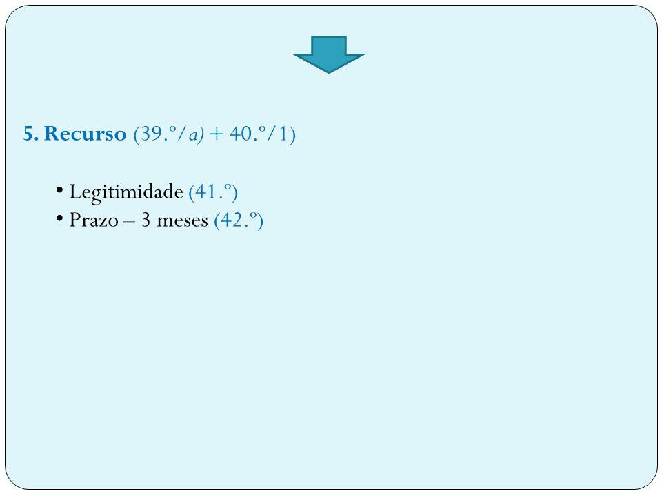 5. Recurso (39.º/a) + 40.º/1) Legitimidade (41.º) Prazo – 3 meses (42.º)