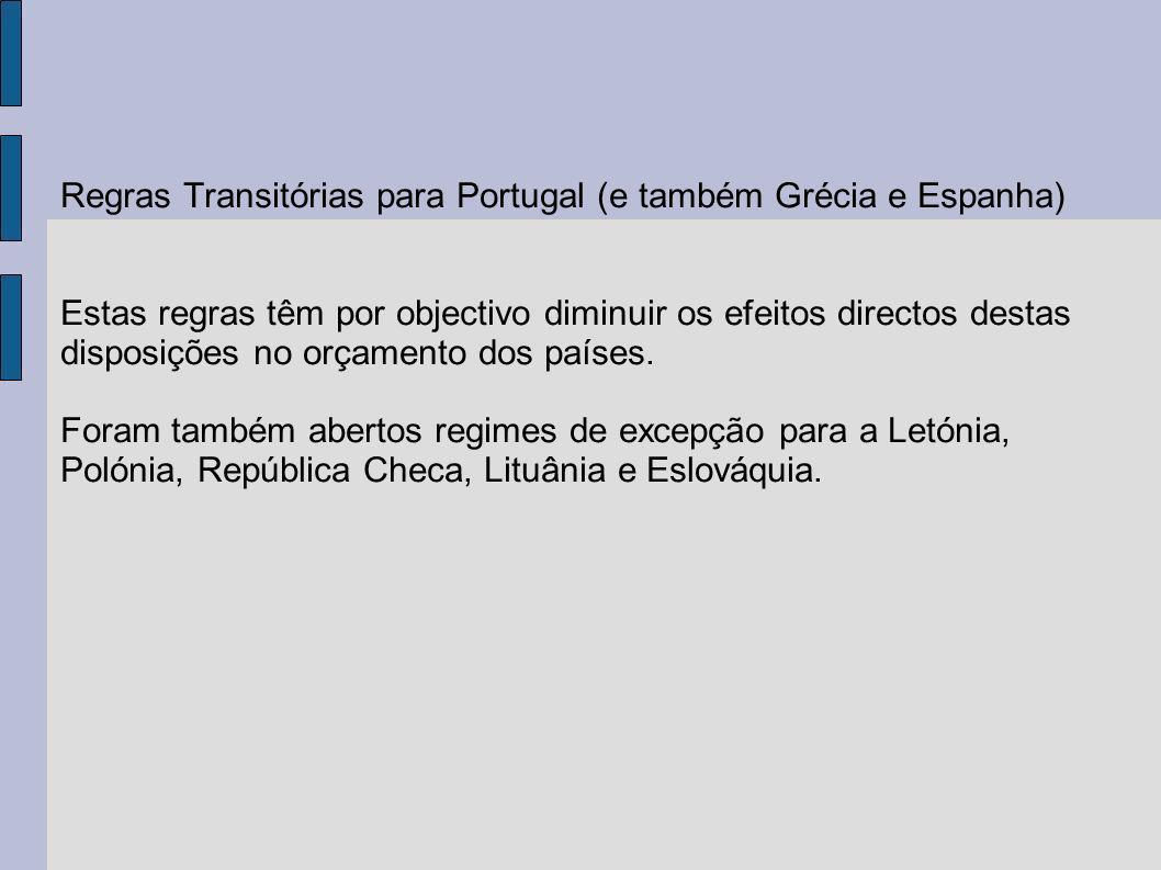 Regras Transitórias para Portugal (e também Grécia e Espanha) Estas regras têm por objectivo diminuir os efeitos directos destas disposições no orçame