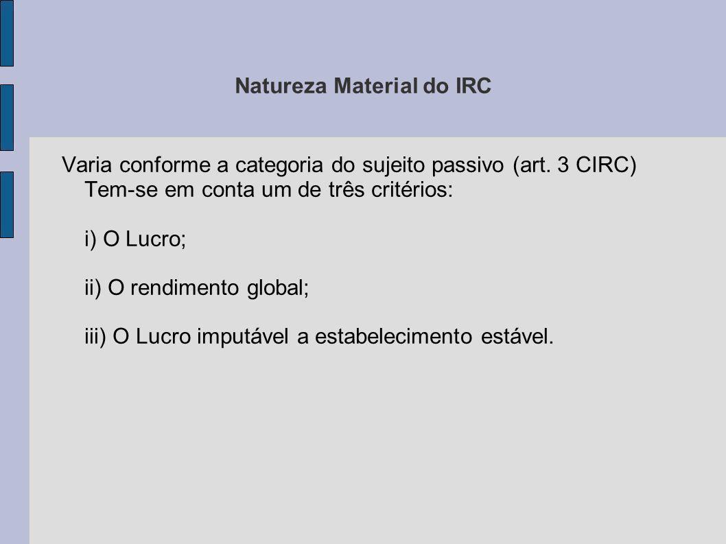 Natureza Material do IRC Varia conforme a categoria do sujeito passivo (art. 3 CIRC) Tem-se em conta um de três critérios: i) O Lucro; ii) O rendiment