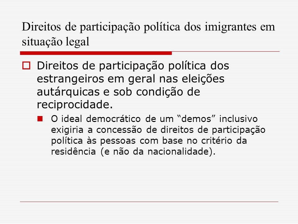 Direitos de participação política dos imigrantes em situação legal Direitos de participação política dos estrangeiros em geral nas eleições autárquicas e sob condição de reciprocidade.
