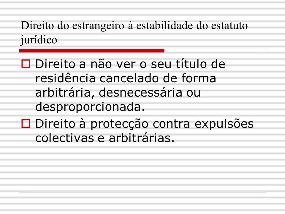 Direito do estrangeiro à estabilidade do estatuto jurídico Direito a não ver o seu título de residência cancelado de forma arbitrária, desnecessária ou desproporcionada.