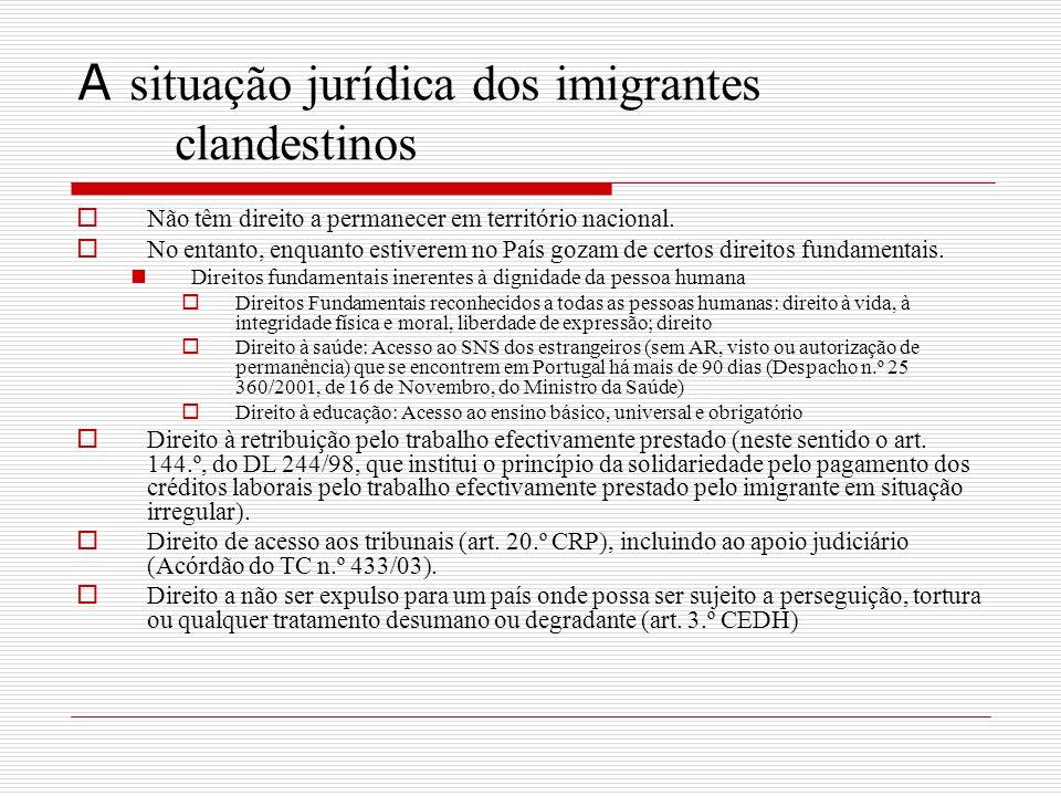 A situação jurídica dos imigrantes clandestinos Não têm direito a permanecer em território nacional.