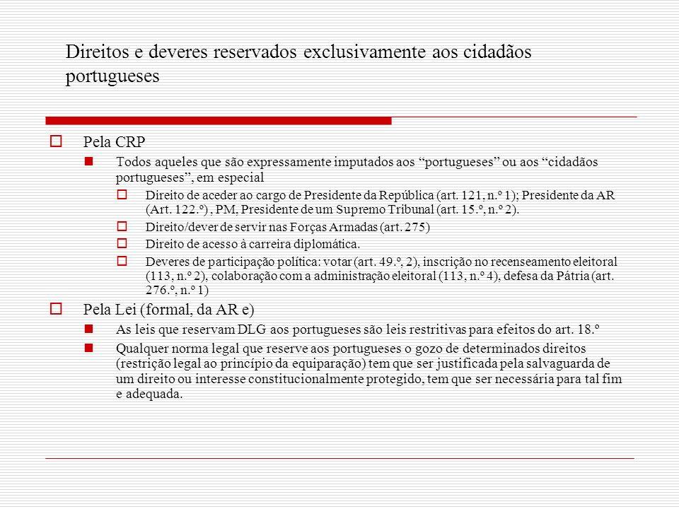 Direitos e deveres reservados exclusivamente aos cidadãos portugueses Pela CRP Todos aqueles que são expressamente imputados aos portugueses ou aos cidadãos portugueses, em especial Direito de aceder ao cargo de Presidente da República (art.