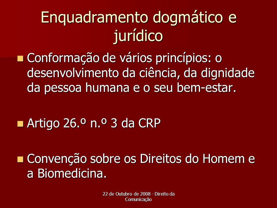 22 de Outubro de 2008 - Direito da Comunicação Enquadramento dogmático e jurídico Conformação de vários princípios: o desenvolvimento da ciência, da d