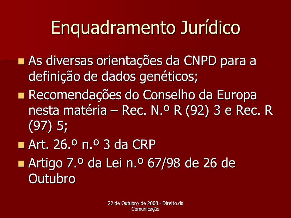 22 de Outubro de 2008 - Direito da Comunicação Enquadramento Jurídico As diversas orientações da CNPD para a definição de dados genéticos; As diversas