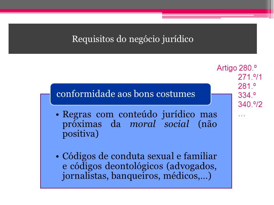Requisitos do negócio jurídico Regras com conteúdo jurídico mas próximas da moral social (não positiva) Códigos de conduta sexual e familiar e códigos