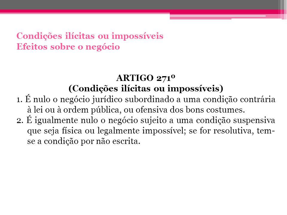 Condições ilícitas ou impossíveis Efeitos sobre o negócio ARTIGO 271º (Condições ilícitas ou impossíveis) 1. É nulo o negócio jurídico subordinado a u