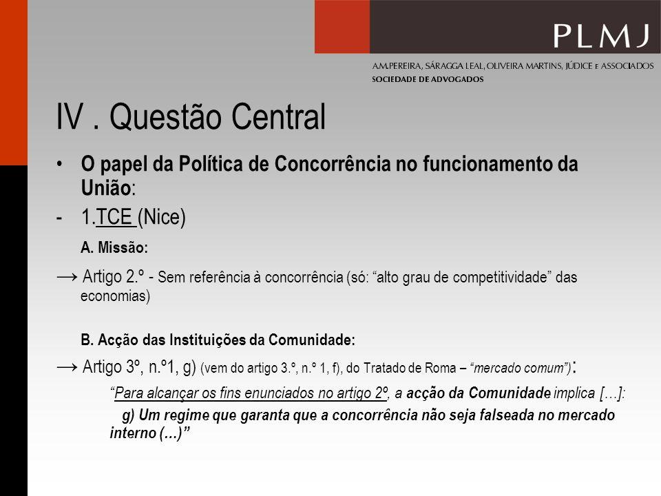 IV. Questão Central O papel da Política de Concorrência no funcionamento da União : -1.TCE (Nice) A. Missão: Artigo 2.º - Sem referência à concorrênci