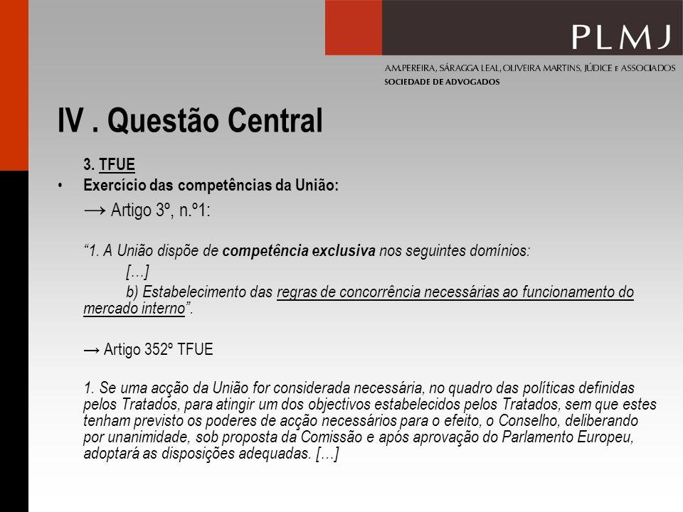 IV. Questão Central 3. TFUE Exercício das competências da União: Artigo 3º, n.º1: 1. A União dispõe de competência exclusiva nos seguintes domínios: [
