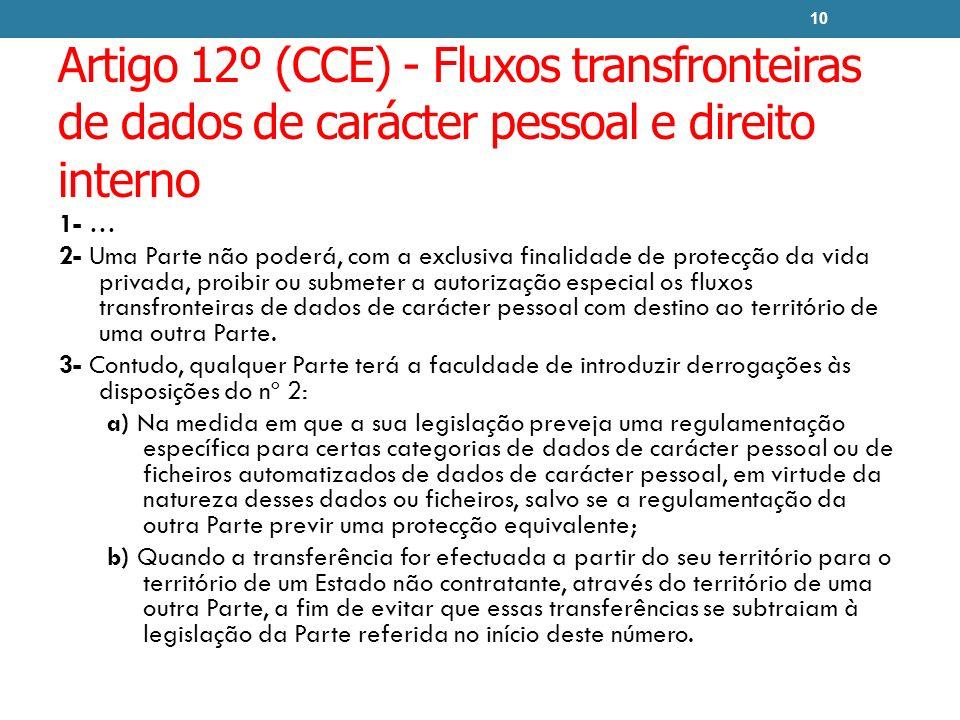 Artigo 12º (CCE) - Fluxos transfronteiras de dados de carácter pessoal e direito interno 1- … 2- Uma Parte não poderá, com a exclusiva finalidade de p