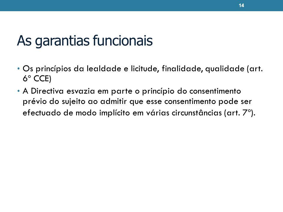 As garantias funcionais Os princípios da lealdade e licitude, finalidade, qualidade (art. 6º CCE) A Directiva esvazia em parte o princípio do consenti