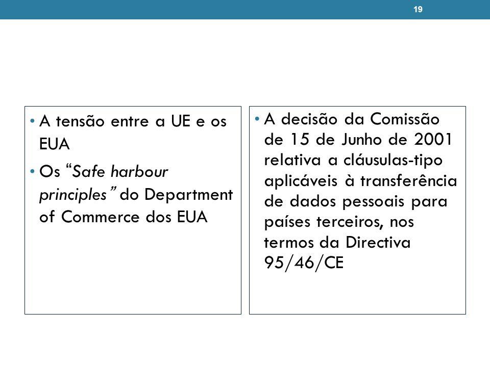 A tensão entre a UE e os EUA Os Safe harbour principles do Department of Commerce dos EUA A decisão da Comissão de 15 de Junho de 2001 relativa a cláu