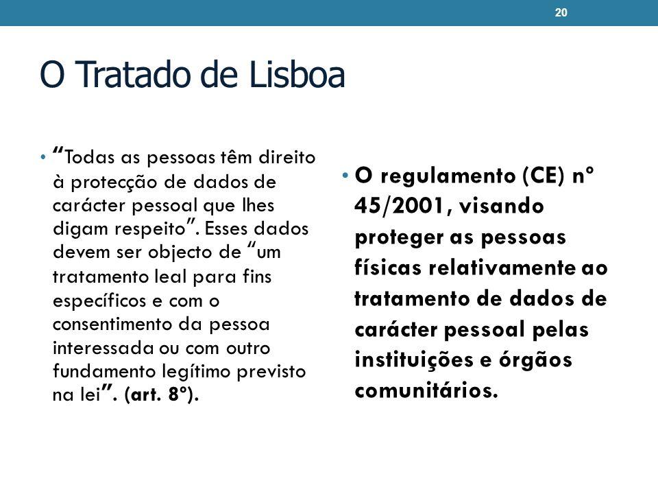 O Tratado de Lisboa Todas as pessoas têm direito à protecção de dados de carácter pessoal que lhes digam respeito. Esses dados devem ser objecto de um
