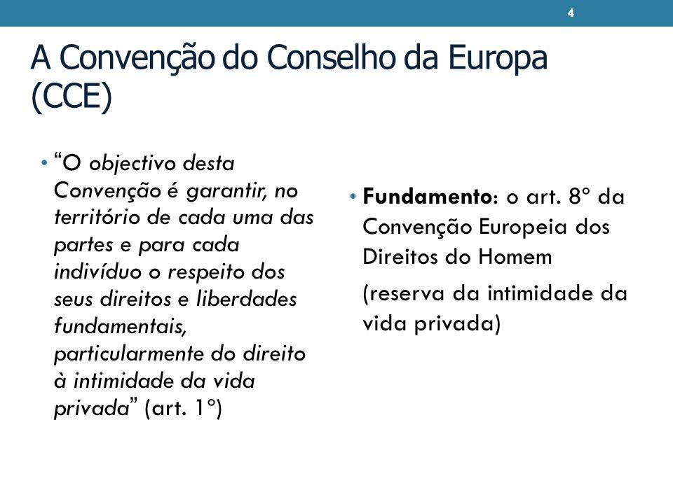 A Convenção do Conselho da Europa (CCE) O objectivo desta Convenção é garantir, no território de cada uma das partes e para cada indivíduo o respeito