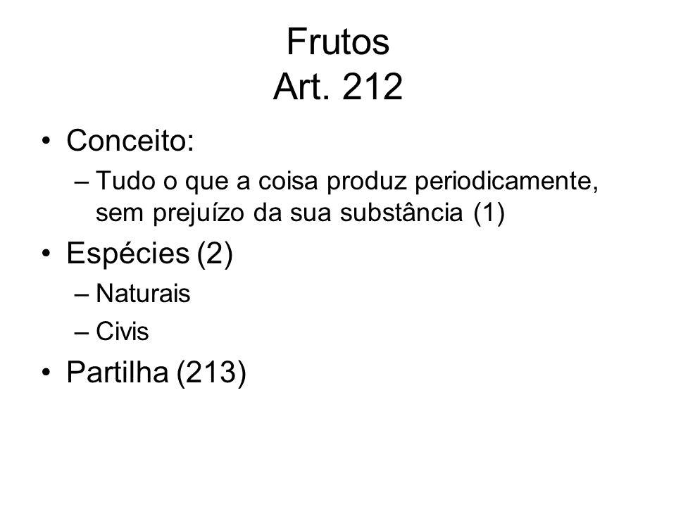 Frutos Art. 212 Conceito: –Tudo o que a coisa produz periodicamente, sem prejuízo da sua substância (1) Espécies (2) –Naturais –Civis Partilha (213)