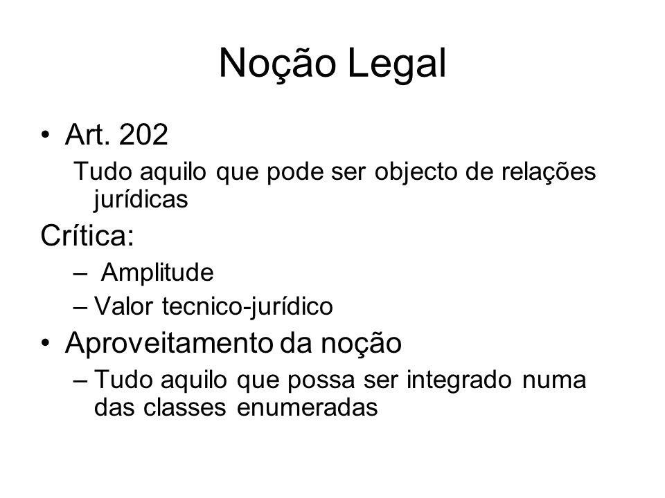 Noção Legal Art. 202 Tudo aquilo que pode ser objecto de relações jurídicas Crítica: – Amplitude –Valor tecnico-jurídico Aproveitamento da noção –Tudo