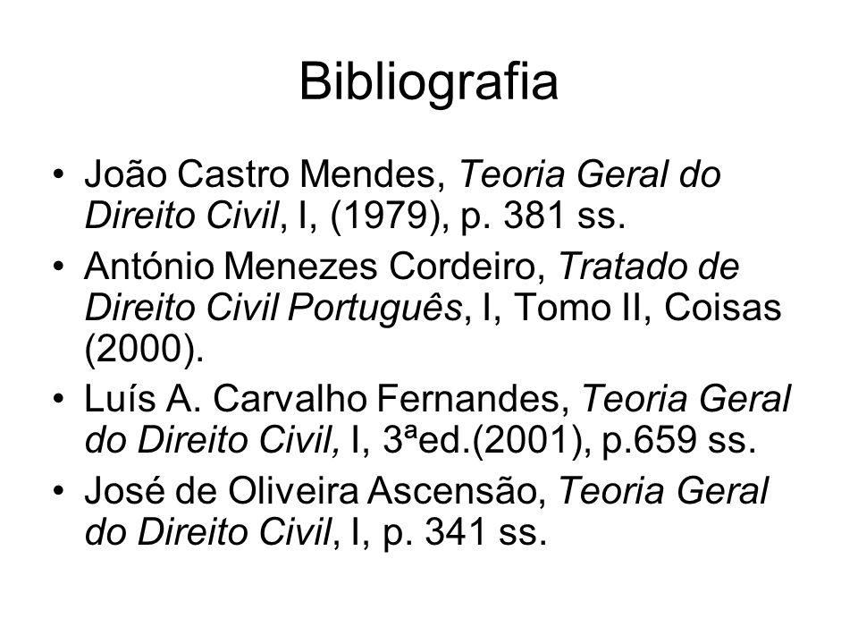 Bibliografia João Castro Mendes, Teoria Geral do Direito Civil, I, (1979), p. 381 ss. António Menezes Cordeiro, Tratado de Direito Civil Português, I,