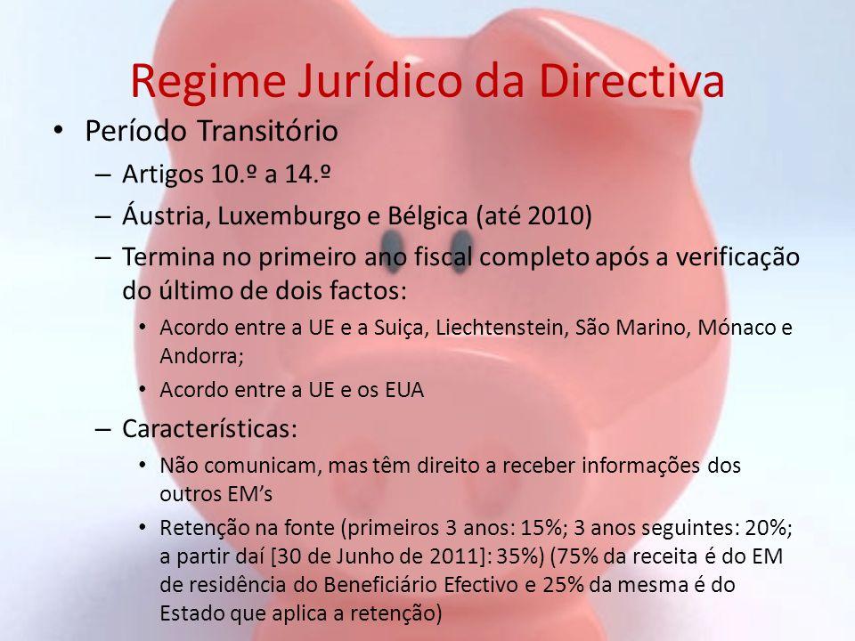 Regime Jurídico da Directiva Período Transitório – Artigos 10.º a 14.º – Áustria, Luxemburgo e Bélgica (até 2010) – Termina no primeiro ano fiscal com