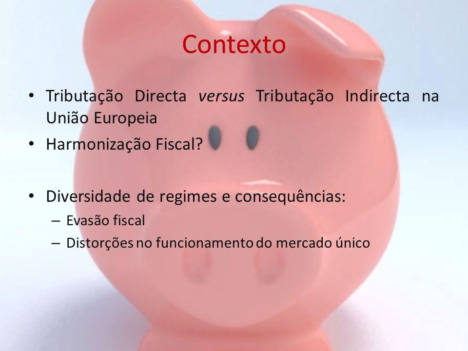 Contexto Tributação Directa versus Tributação Indirecta na União Europeia Harmonização Fiscal? Diversidade de regimes e consequências: – Evasão fiscal